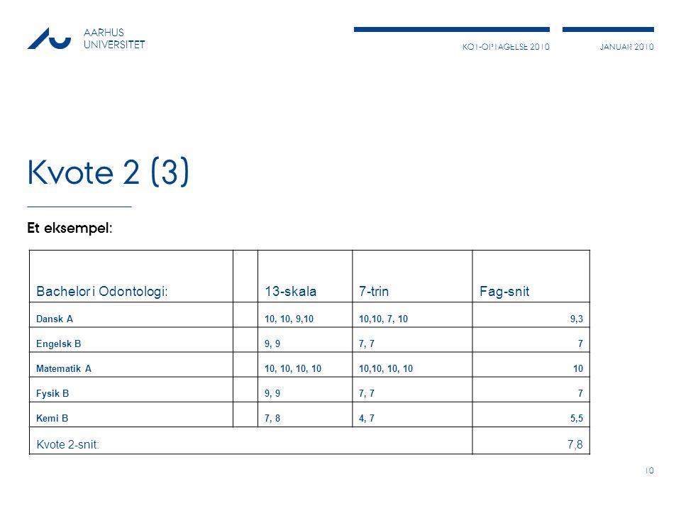 Kvote 2 (3) Et eksempel: Bachelor i Odontologi: 13-skala 7-trin