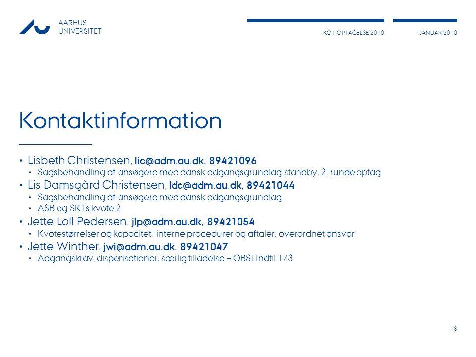 Kontaktinformation Lisbeth Christensen, lic@adm.au.dk, 89421096