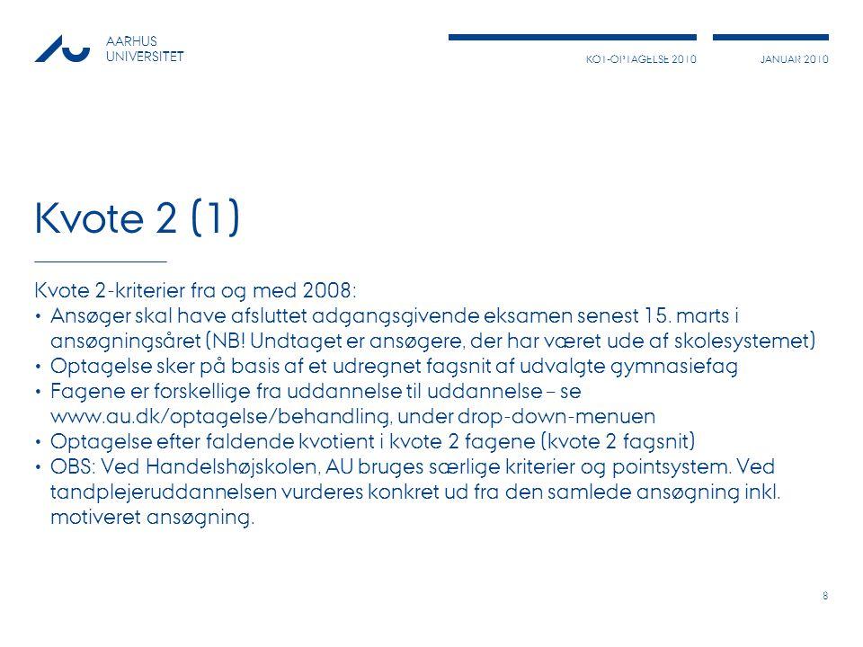 Kvote 2 (1) Kvote 2-kriterier fra og med 2008: