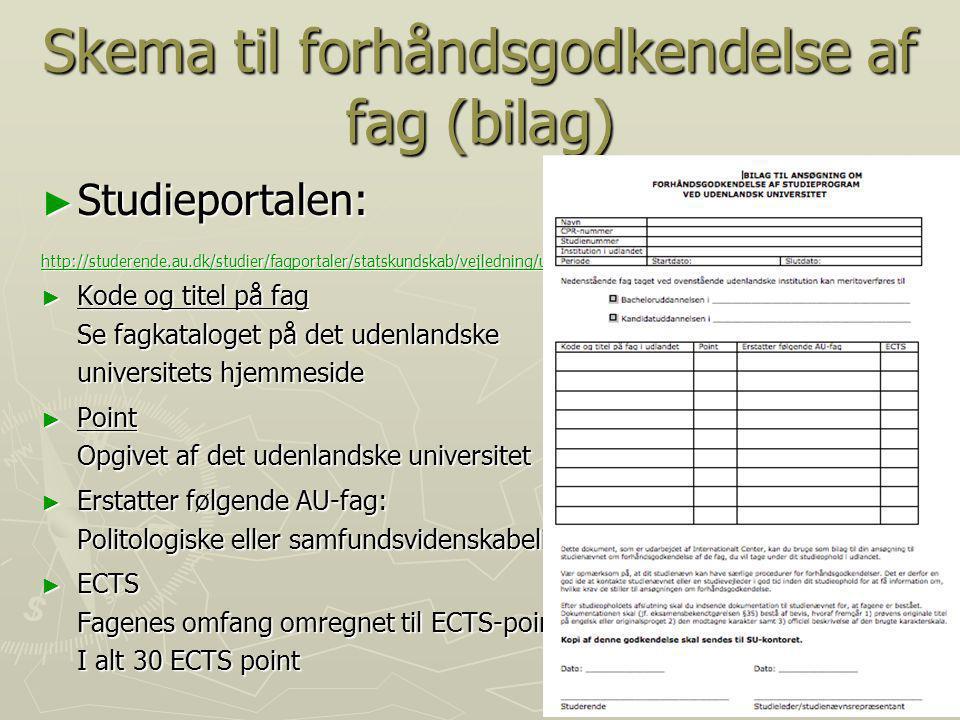 Skema til forhåndsgodkendelse af fag (bilag)