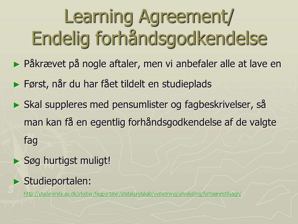 Learning Agreement/ Endelig forhåndsgodkendelse