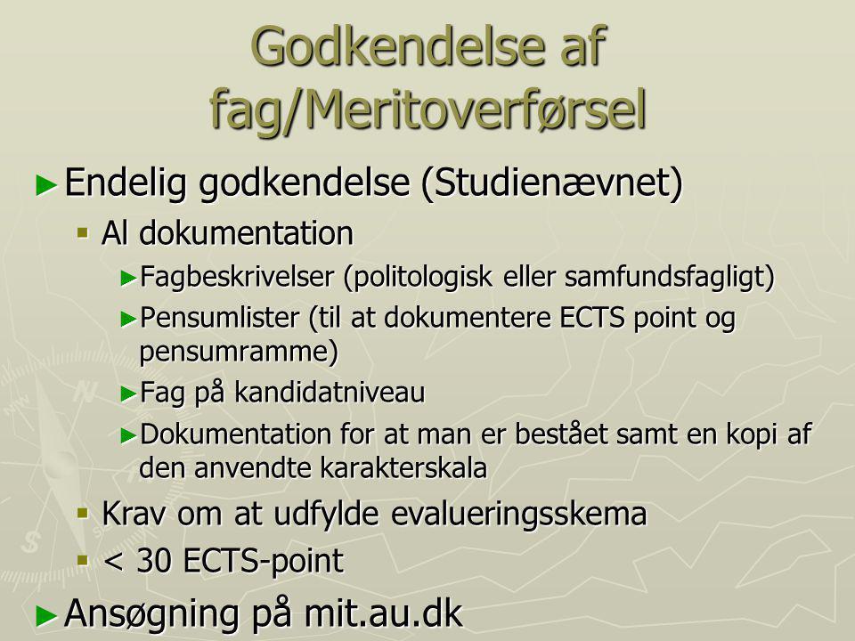 Godkendelse af fag/Meritoverførsel