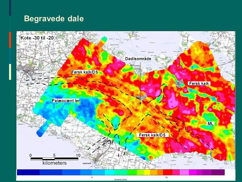 Begravede dale Dødisområde Fersk kalk/DS Fersk kalk Palæocænt ler ML