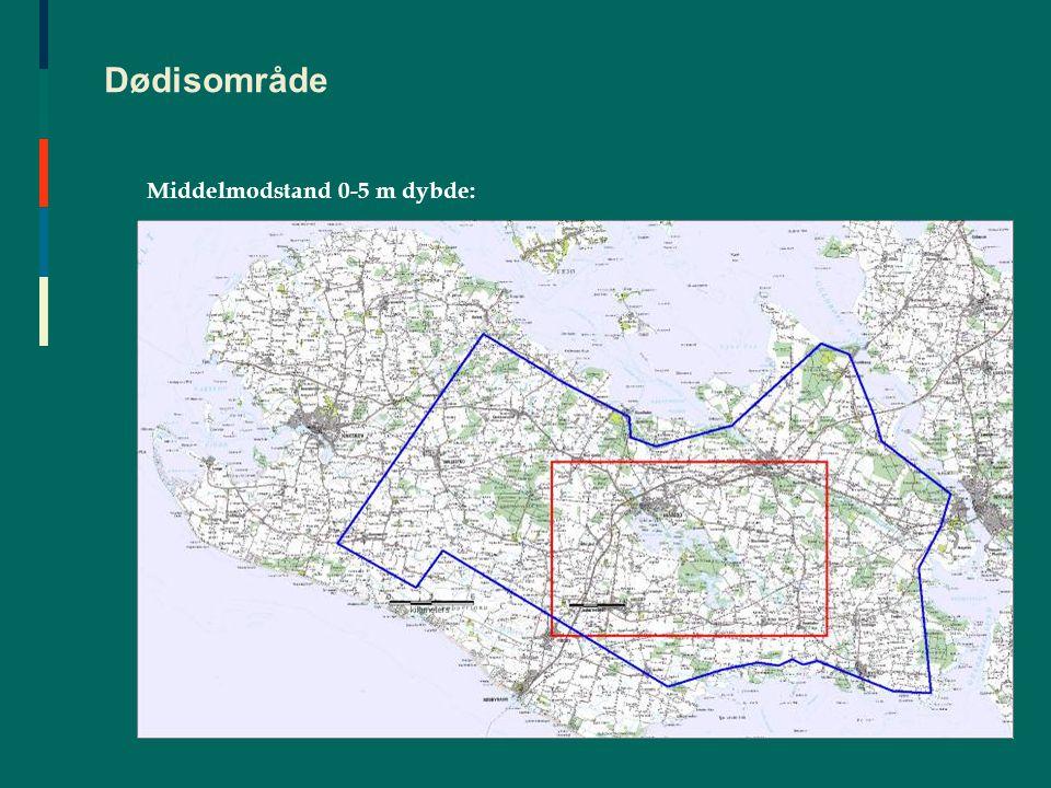 Dødisområde Middelmodstand 0-5 m dybde:
