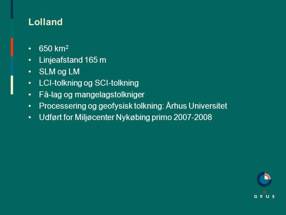 Lolland 650 km2 Linjeafstand 165 m SLM og LM