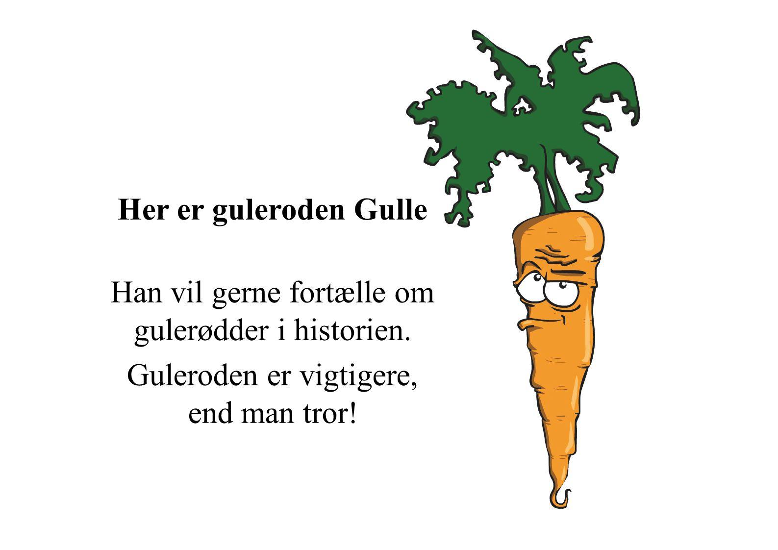 Han vil gerne fortælle om gulerødder i historien.