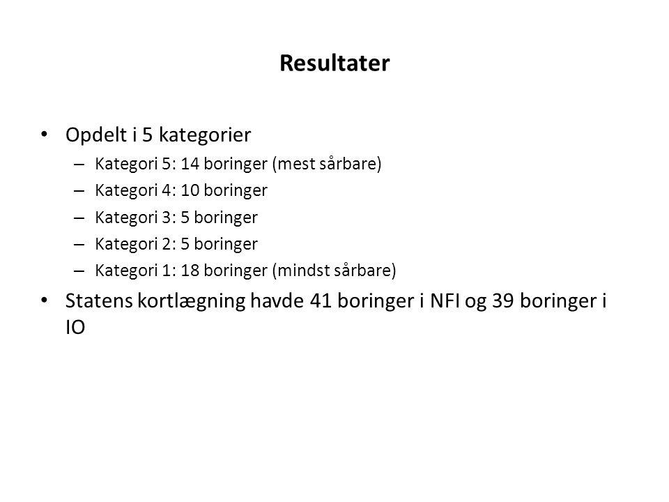 Resultater Opdelt i 5 kategorier