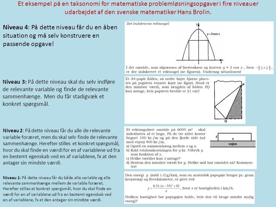 Et eksempel på en taksonomi for matematiske problemløsningsopgaver i fire niveauer udarbejdet af den svenske matematiker Hans Brolin.