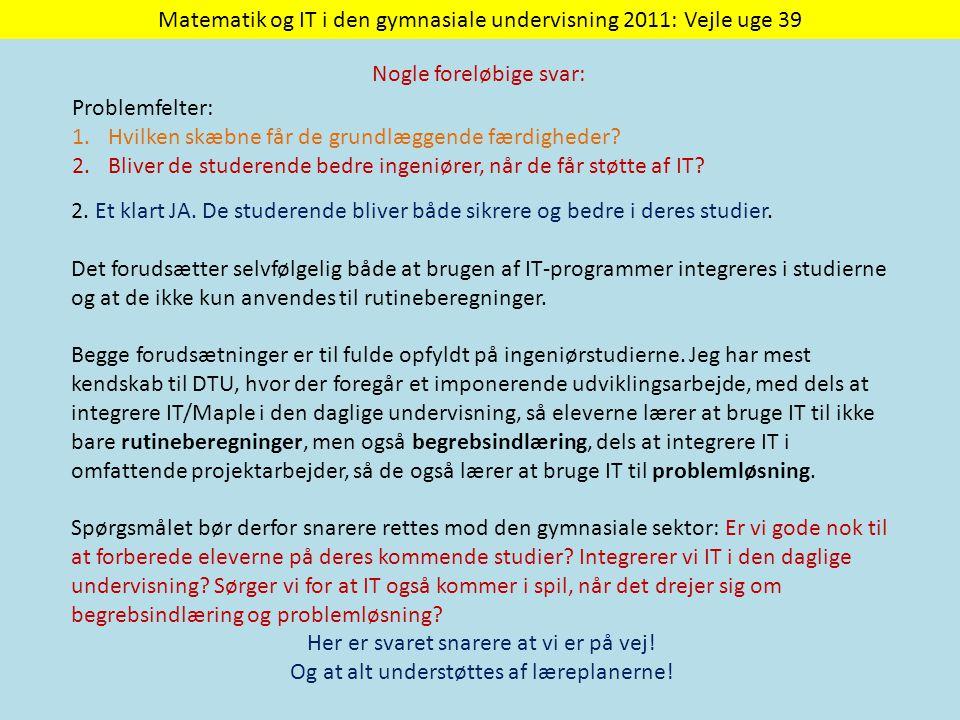 Matematik og IT i den gymnasiale undervisning 2011: Vejle uge 39