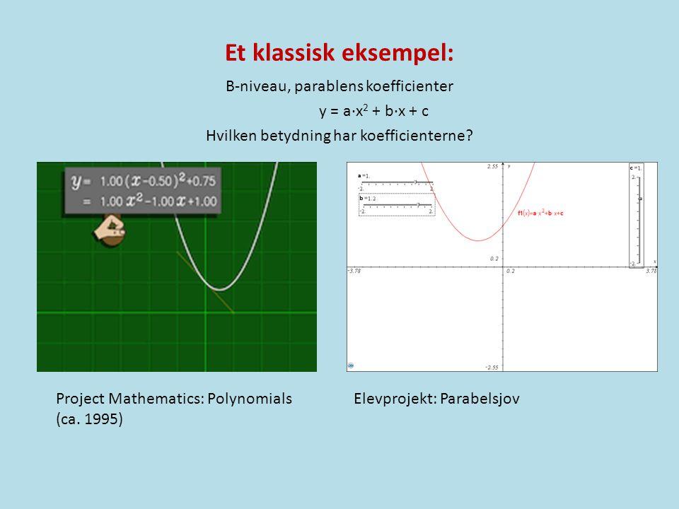 Et klassisk eksempel: B-niveau, parablens koefficienter y = a·x2 + b·x + c Hvilken betydning har koefficienterne