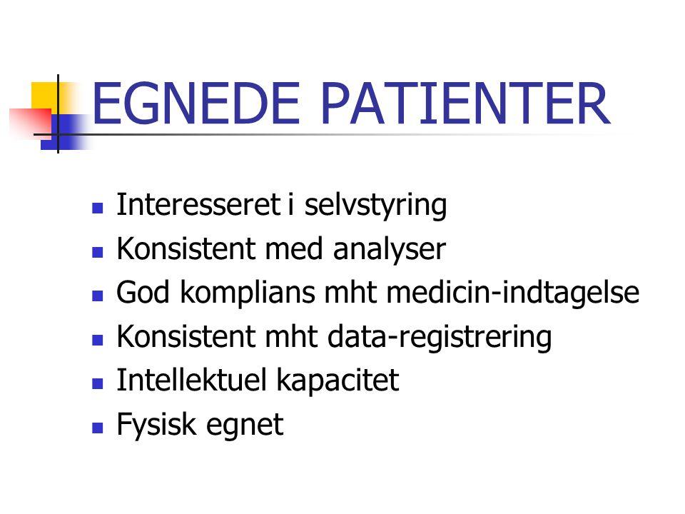 EGNEDE PATIENTER Interesseret i selvstyring Konsistent med analyser