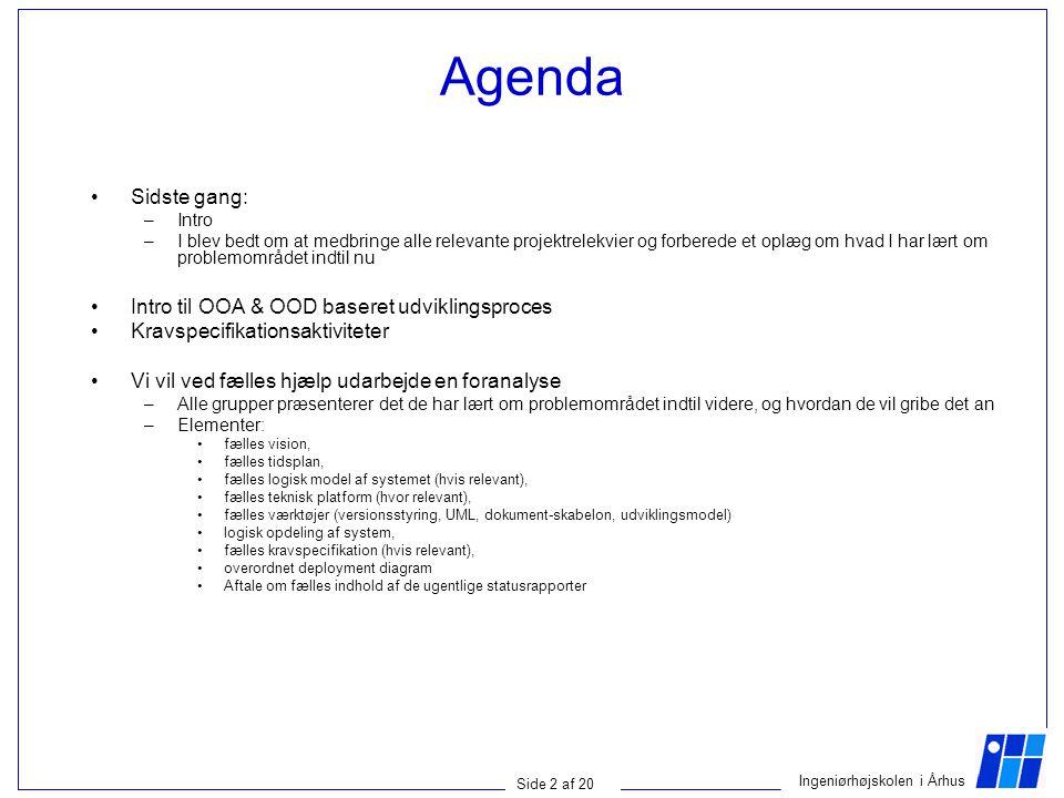 Agenda Sidste gang: Intro til OOA & OOD baseret udviklingsproces