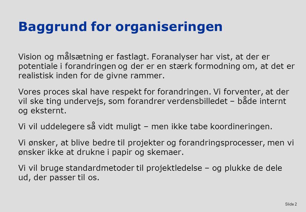 Baggrund for organiseringen
