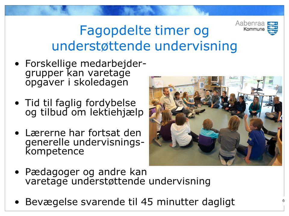 Fagopdelte timer og understøttende undervisning