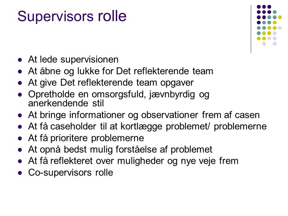 Supervisors rolle At lede supervisionen