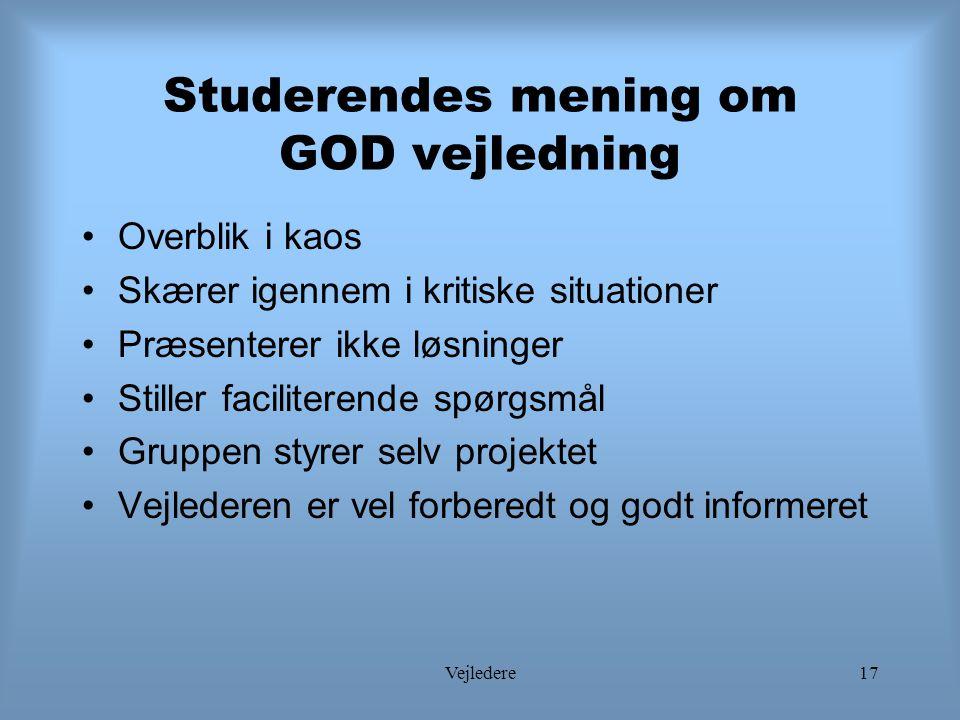 Studerendes mening om GOD vejledning