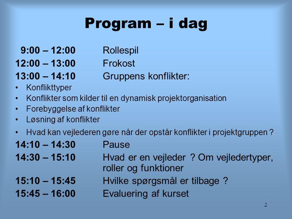 Program – i dag 9:00 – 12:00 Rollespil 12:00 – 13:00 Frokost
