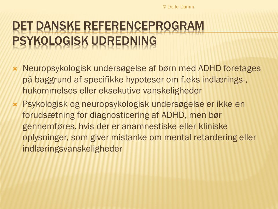 Det Danske Referenceprogram Psykologisk udredning