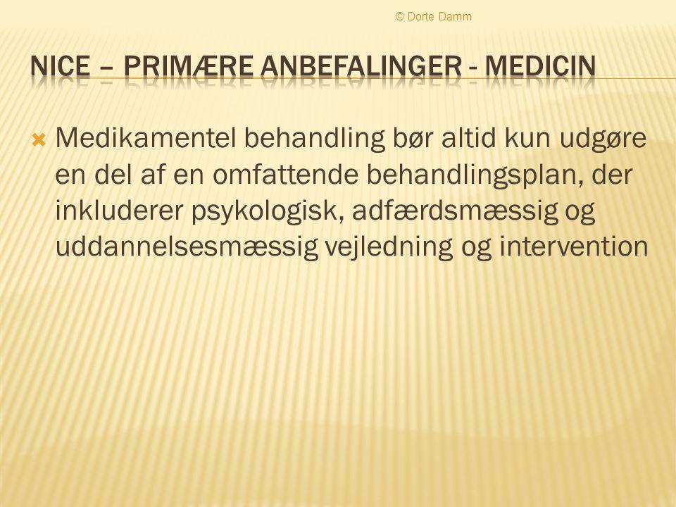 Nice – primære anbefalinger - medicin