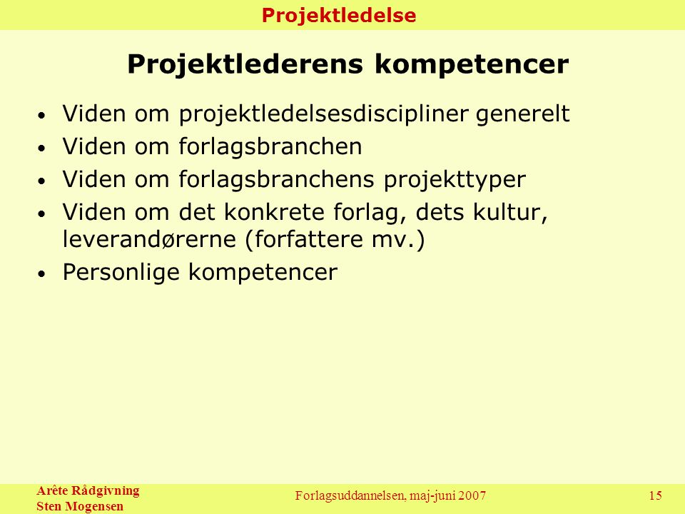 Projektlederens kompetencer