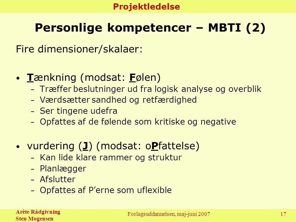 Personlige kompetencer – MBTI (2)