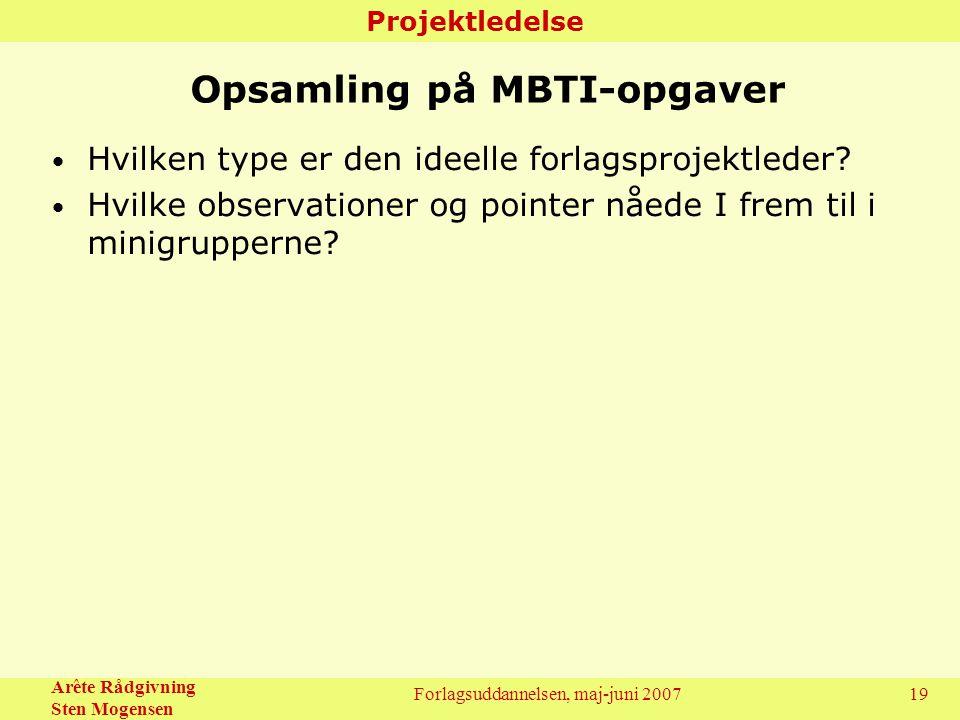 Opsamling på MBTI-opgaver