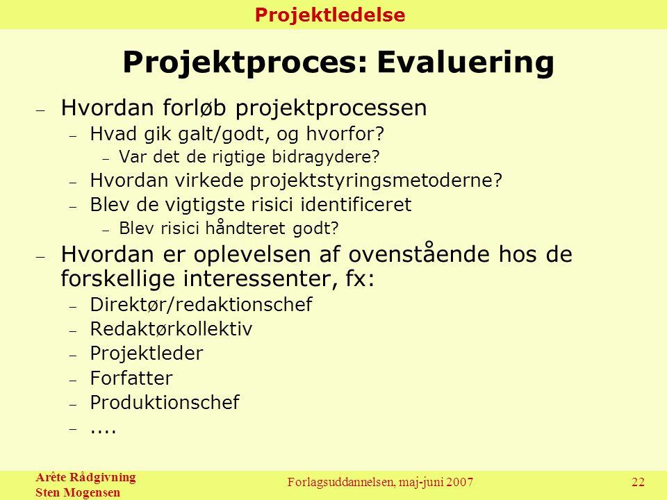 Projektproces: Evaluering