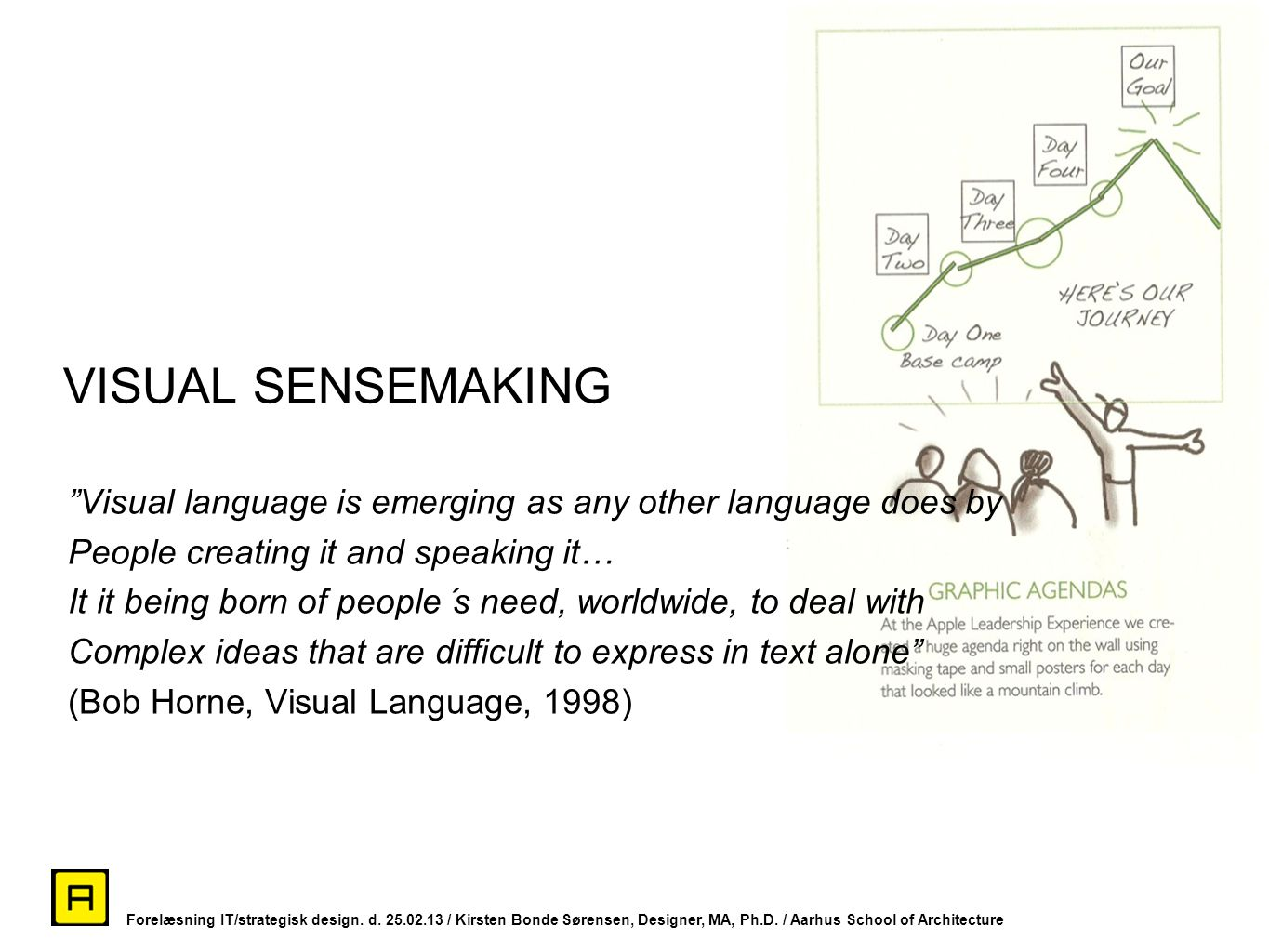VISUAL SENSEMAKING Visual language is emerging as any other language does by. People creating it and speaking it…