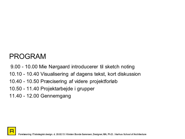 PROGRAM 9.00 - 10.00 Mie Nørgaard introducerer til sketch noting