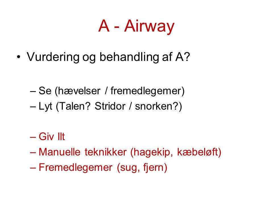 A - Airway Vurdering og behandling af A Se (hævelser / fremedlegemer)