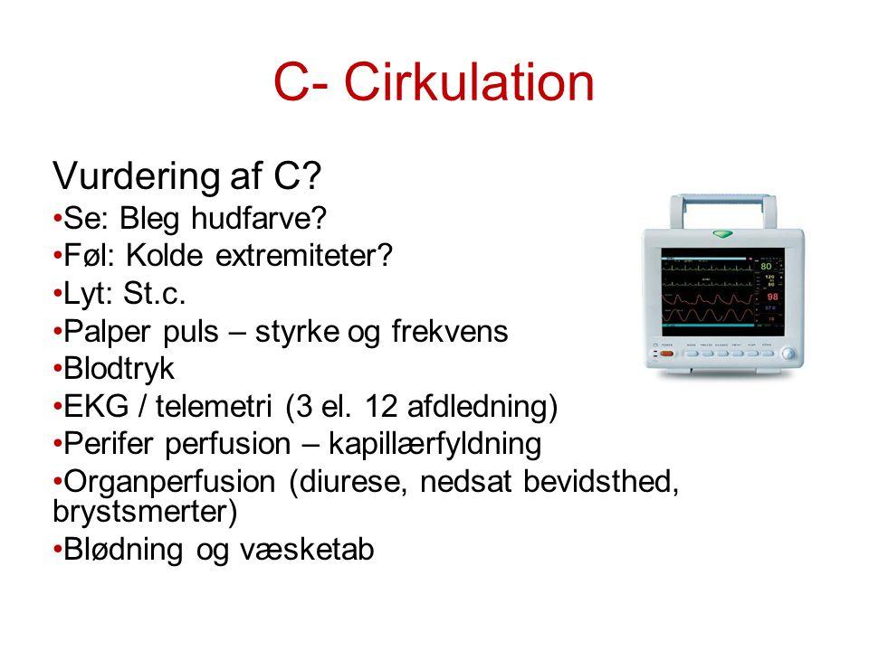 C- Cirkulation Vurdering af C Se: Bleg hudfarve