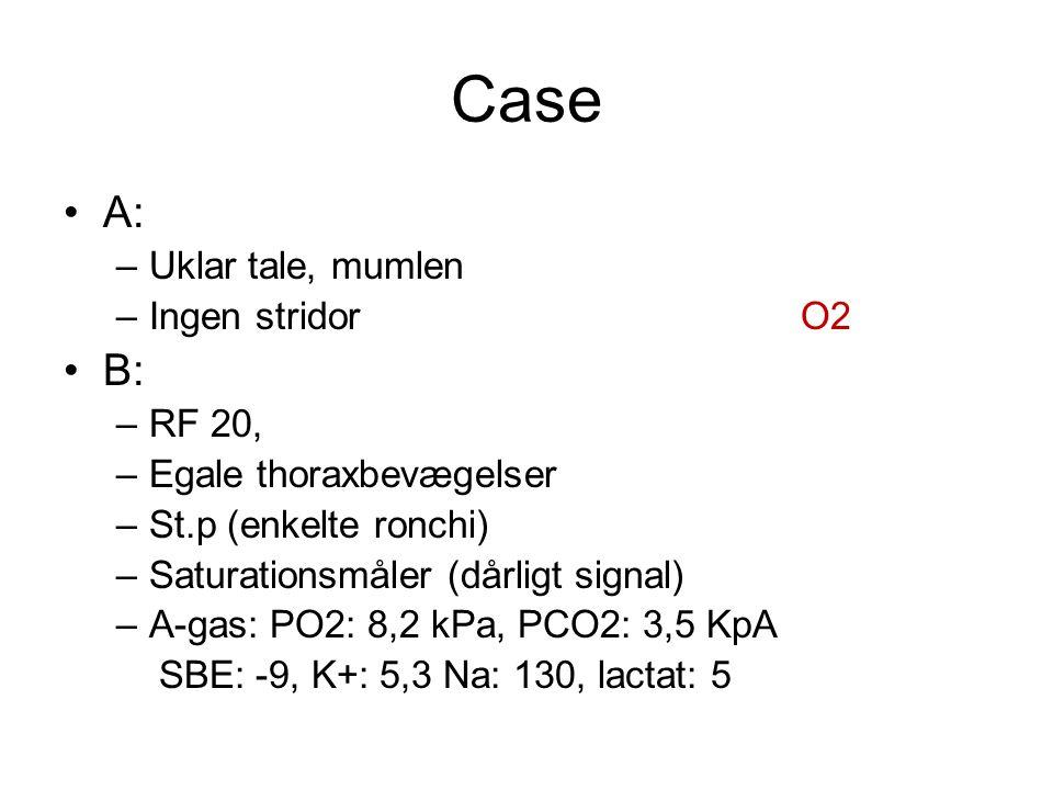 Case A: B: Uklar tale, mumlen Ingen stridor O2 RF 20,