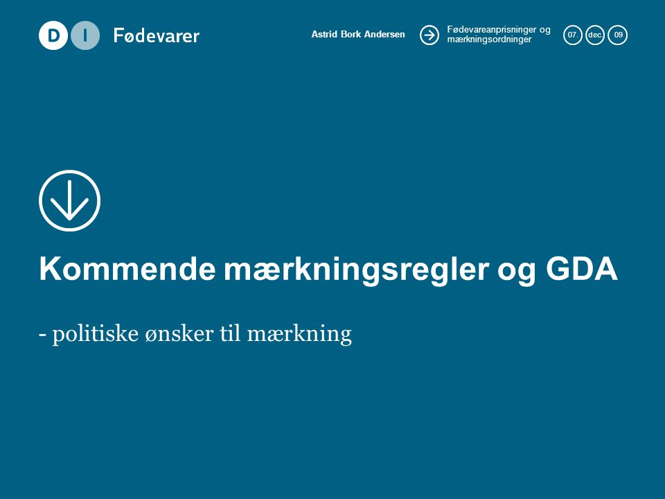 Kommende mærkningsregler og GDA