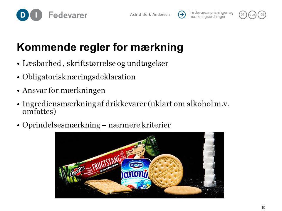 Kommende regler for mærkning