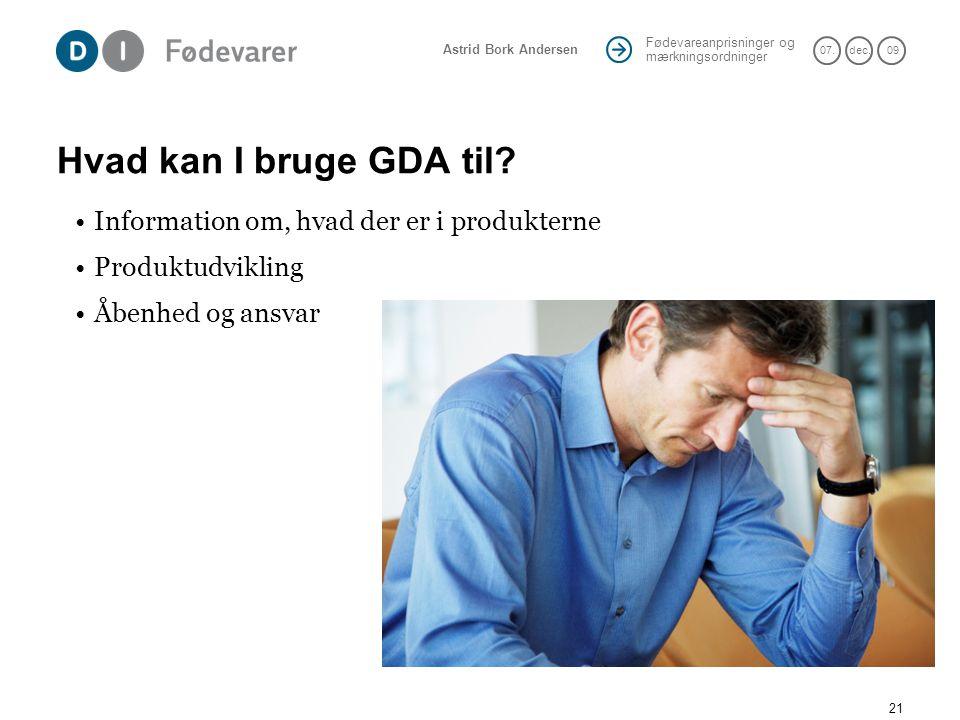 Hvad kan I bruge GDA til Information om, hvad der er i produkterne
