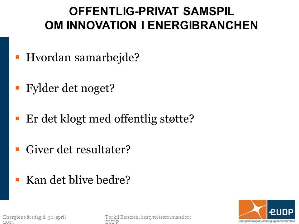 OFFENTLIG-PRIVAT SAMSPIL OM INNOVATION I ENERGIBRANCHEN