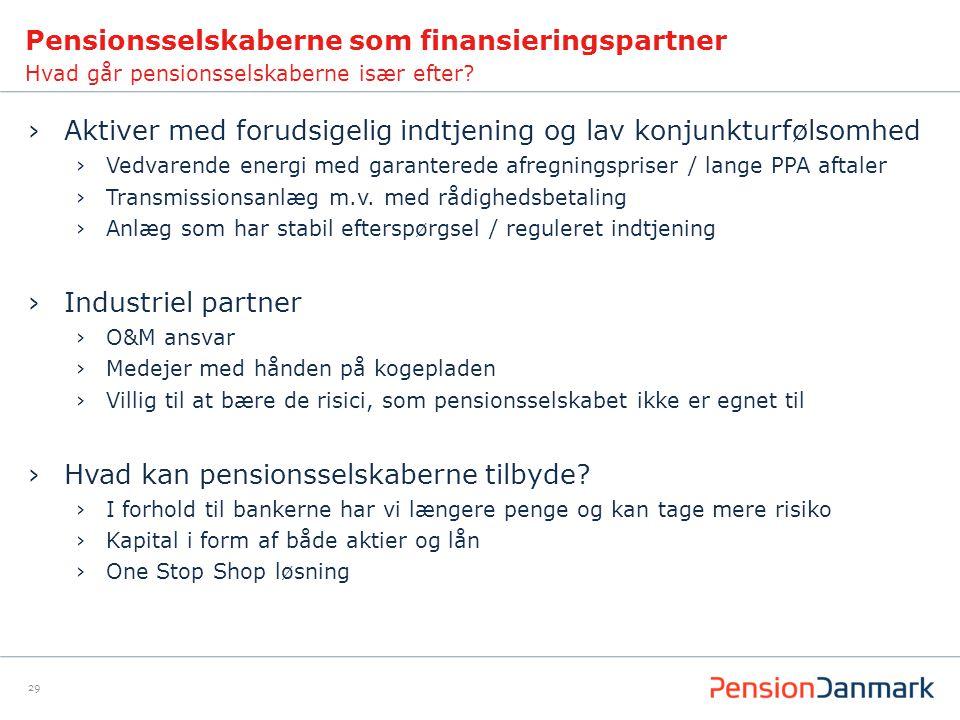 Pensionsselskaberne som finansieringspartner