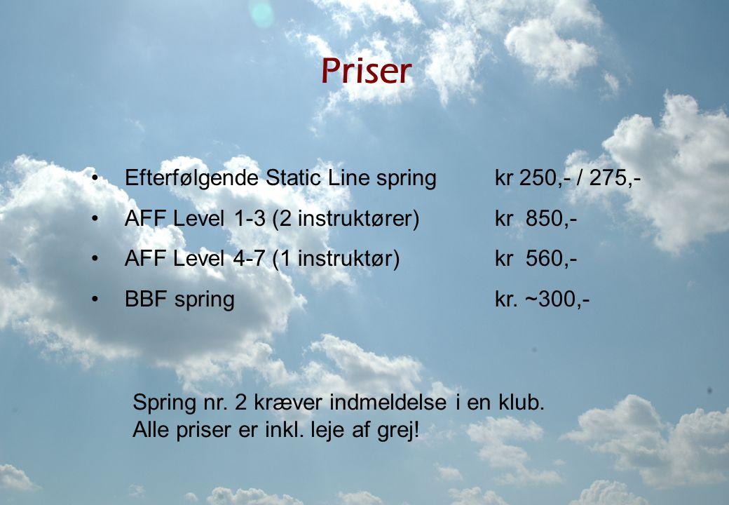 Priser Efterfølgende Static Line spring kr 250,- / 275,-