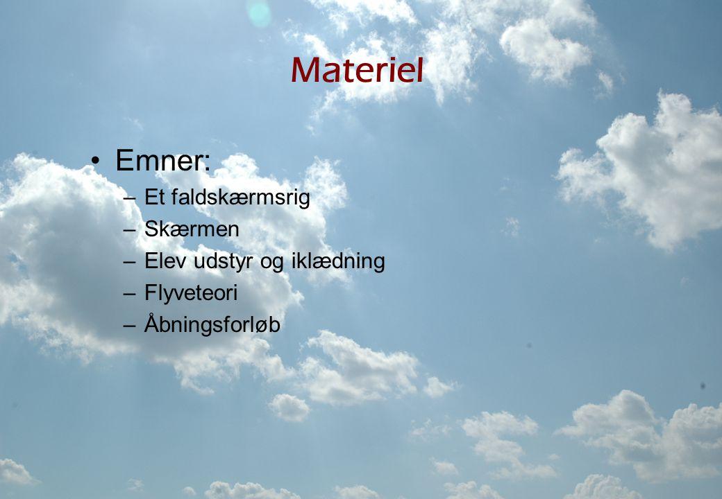 Materiel Emner: Et faldskærmsrig Skærmen Elev udstyr og iklædning