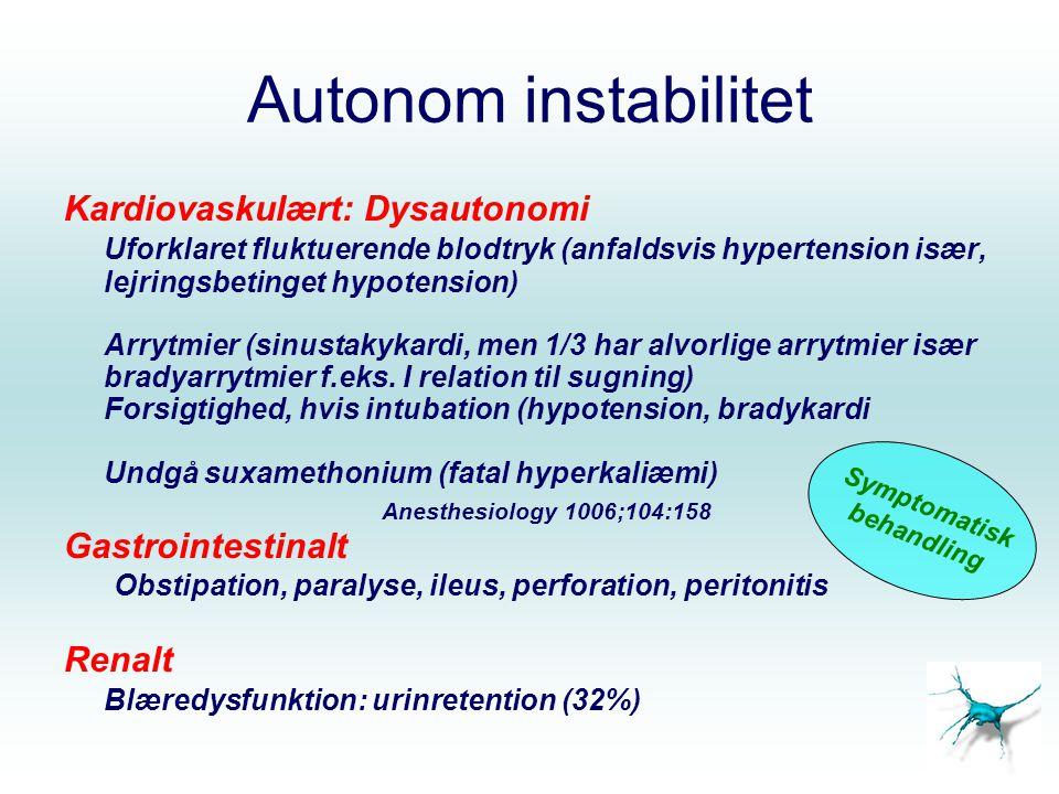 Autonom instabilitet Kardiovaskulært: Dysautonomi