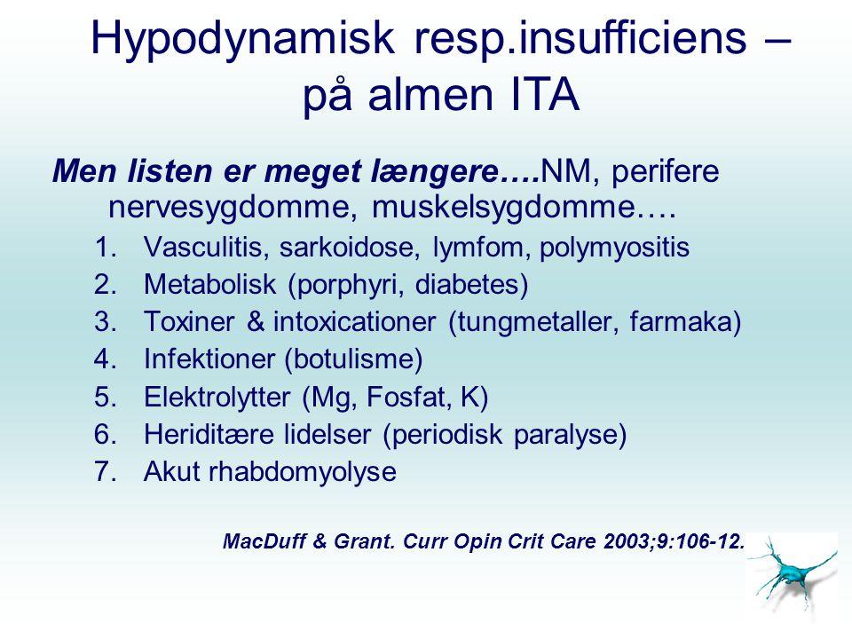 Hypodynamisk resp.insufficiens – på almen ITA