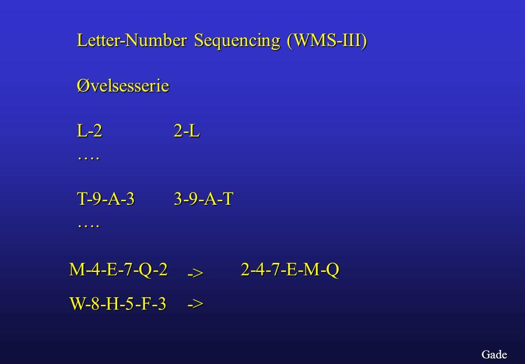 Letter-Number Sequencing (WMS-III) Øvelsesserie L-2 2-L ….