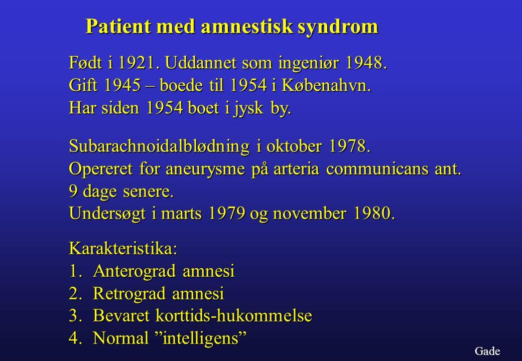 Patient med amnestisk syndrom
