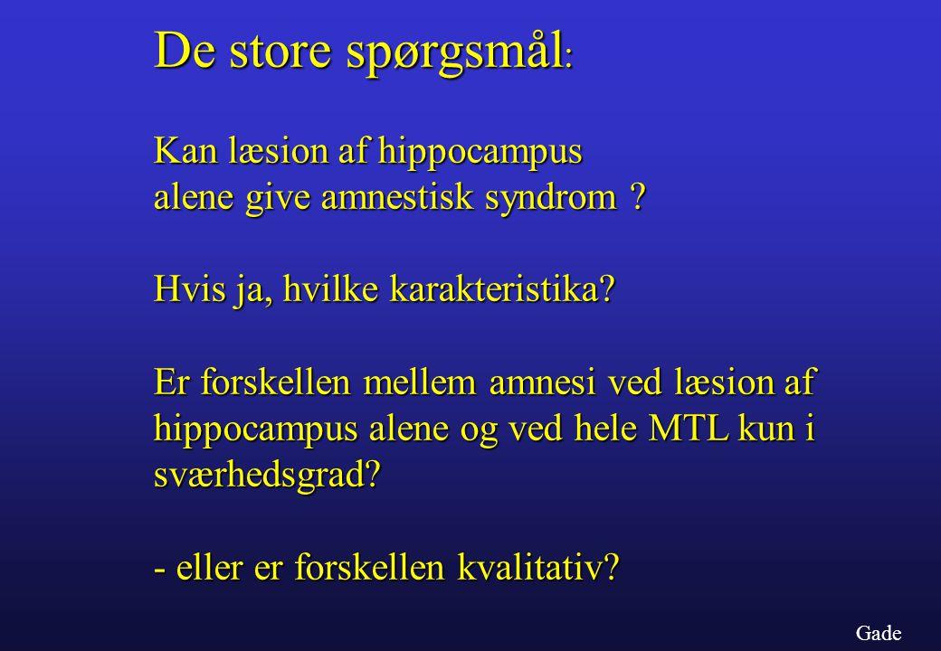De store spørgsmål: Kan læsion af hippocampus alene give amnestisk syndrom Hvis ja, hvilke karakteristika