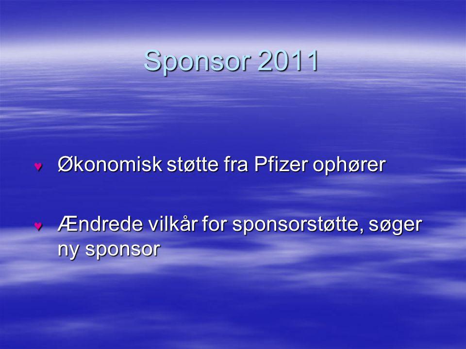 Sponsor 2011 Økonomisk støtte fra Pfizer ophører