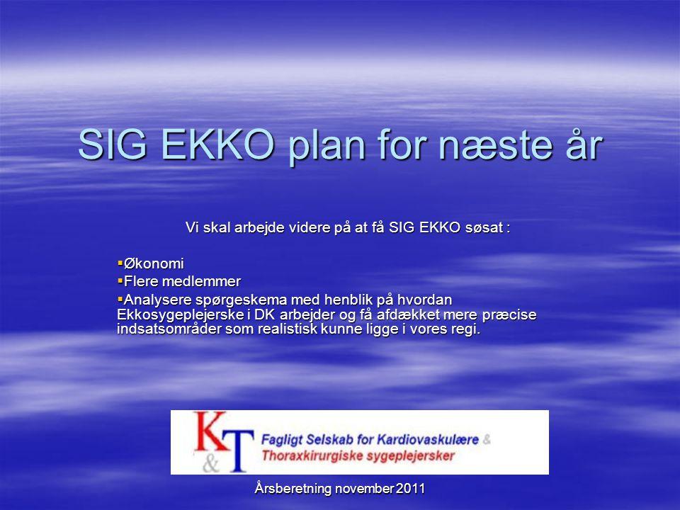 SIG EKKO plan for næste år