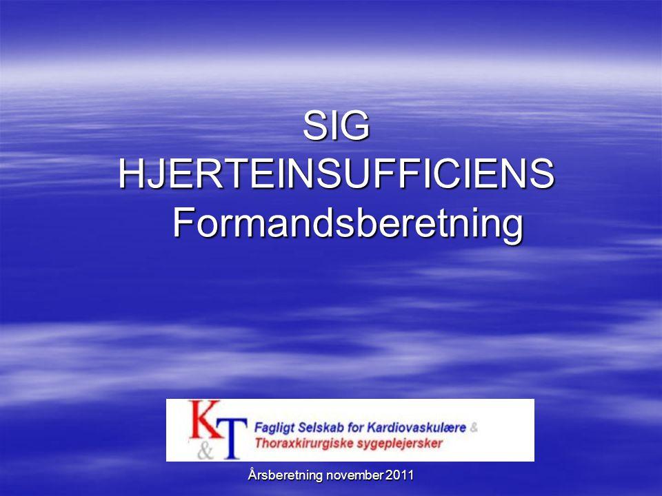 SIG HJERTEINSUFFICIENS Formandsberetning