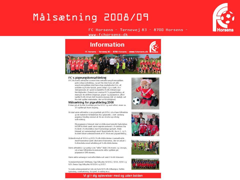 Målsætning 2008/09 FC Horsens – Ternevej 83 – 8700 Horsens – www.fchorsens.dk