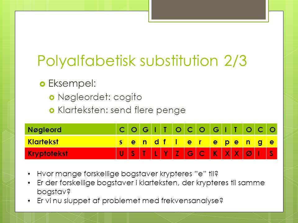 Polyalfabetisk substitution 2/3