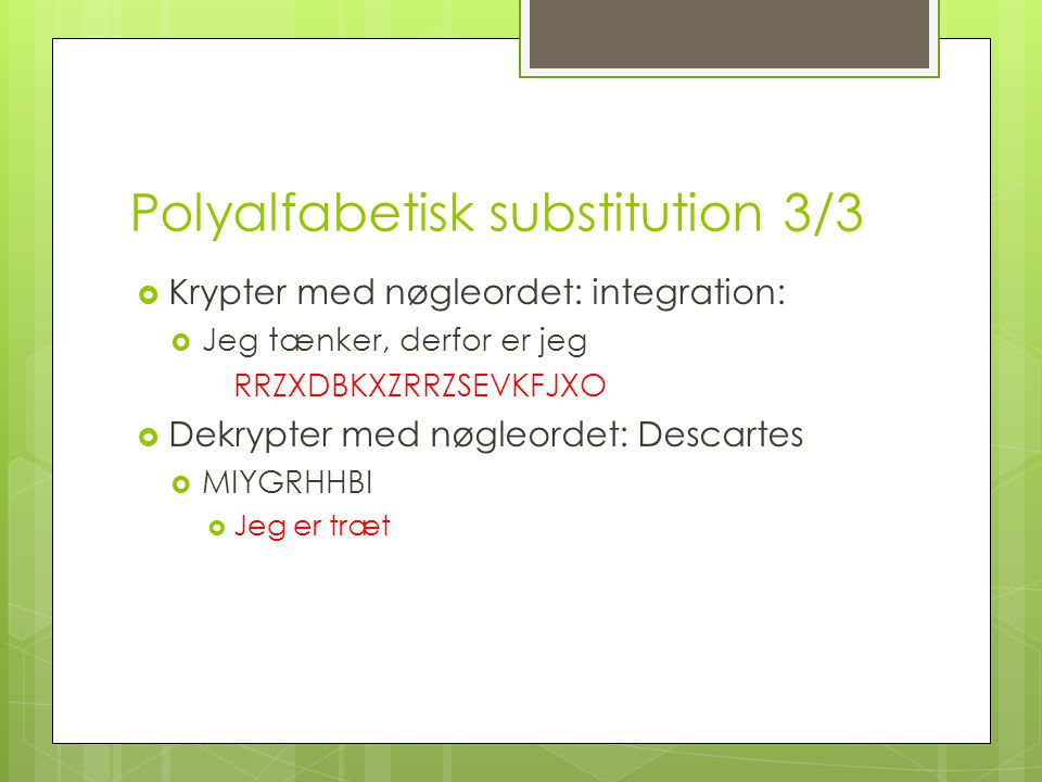 Polyalfabetisk substitution 3/3